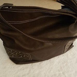 Carlos Santana Brown Bucket Handbag